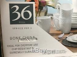 New Mikasa Trellis Bone China 36 Piece Dinnerware Set Service Set for 6 Durable