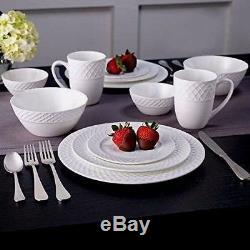 New Mikasa Trellis Swirl Bone Porcelain China 36 Piece Dinnerware Set B