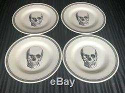 New Royal Stafford Halloween Skull 12 Pc Set Dinnerware Plates Bowls Spooky Goth