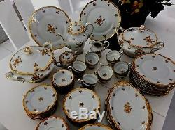 New Weimar Katharina 17010 Etch Cobalt Dinner Set WithMORE SERVING PLATES 102 -PCS