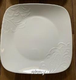 New with Box 15pc Corelle Boutique Cherish White Square Dinnerware Set Embossed