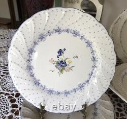 Nikko-BLUE PEONY -Dinnerware Set -Floral Center Blue Dot -Japan 47 Pieces