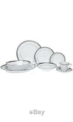 Noritake Crestwood Platinum 50 pc Dinnerware Set +FREE Protective Storage System