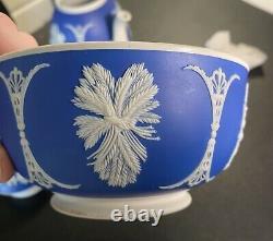 Old Wedgwood Jasperware dip blue 3p teapot sugar applied white grapes+ etc GIPSY