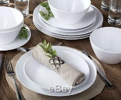 Parhoma White Melamine Home Dinnerware Set, 12-Piece Service for 4