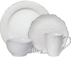 Pfaltzgraff 32 Piece French Lace White Embossed Dinnerware Set Service for 8 NEW