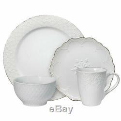 Pfaltzgraff French Lace White 48 Piece Dinnerware Set