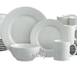 Pfaltzgraff Sylvia 32 Piece Embossed White Dinnerware Set Service For 8