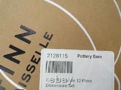 Pottery Barn Finn Stoneware 12 Piece Dinnerware Set White Plates Bowls #2473P