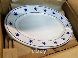 RARE NEW Homer Laughlin Blue Stars Dinner PLATTER Restaurant Ware Plate 13 3/8
