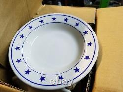 RARE NEW Homer Laughlin Blue Stars Dinner soup BOWL Restaurant Ware Plate 7