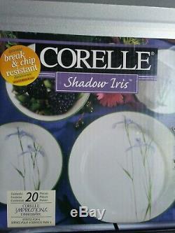 RARE Round Corelle Shadow Iris 20 Piece Dinnerware Set Purple Green White NIB