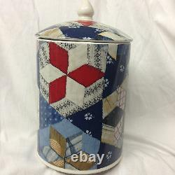 Ralph Lauren China Wedgwood 1989 Patchwork Storage Jar Or Canister & LID 7 5/8