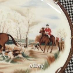 Ralph Lauren China Wedgwood Balmoral Hunt Dinner Plate 10 3/4 Dogs Horses