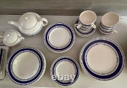 Ralph Lauren Farmstead Ticking Ironstone Dinnerware Set Made in England 1991