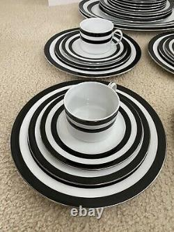 Ralph Lauren Spectator Black China Dinnerware Set of 4 Place Settings Plus More