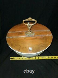 Rare Antique CH. Heitemeyer Double Lidded Ironstone Bar Bowl (g1)