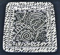 Rare Claudia Reese Cera-Mix Post Modern Ceramic Black & White 18 Center Tray 93
