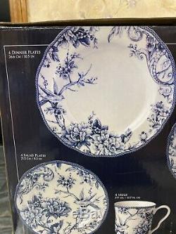 Rare Dinnerware Set Adelaide 19 Pc Porcelain Blue White For 4 Bird Floral See