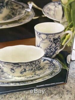 Rare Dinnerware Set Adelaide 20 Pc Porcelain Blue White For 4 Bird Floral