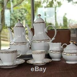 Rare Find Dinnerware Eschenbach Bavaria Germany 130 pcs. White Gold set of 12