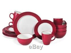 Red 32 Piece Dinnerware Set Dining Dishes Serves 8 Place Setting Bowl Plate Dish