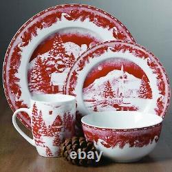 Red Christmas Dinnerware Plates Mugs Dishes Vintage Set For 4 White Xmas Tree 16