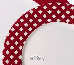 Red & White Dinnerware Set of 48 Piece Services 12 Dinner Plate Dishes Bowls Cup