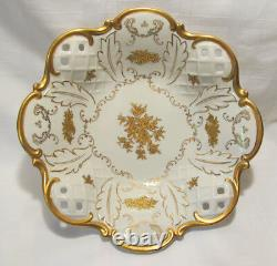Reichenbach Germany 1003-P Fine China Reticulated Centerpiece Bowl Gold Floral