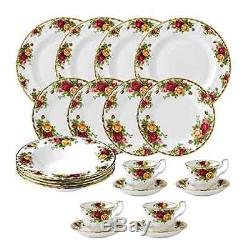 Royal Albert Old Country Roses 20 Piece Dinnerware Set White Fine bone china NEW