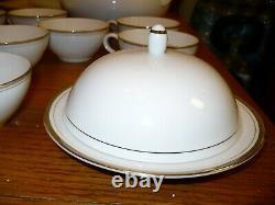 Royalton China Co Translucent Porcelain 91 Piece Set White W Gold Trim