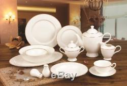 Royalty Porcelain 57pc Modern Banquet Dinnerware Set, 24K Gold, Service for 8