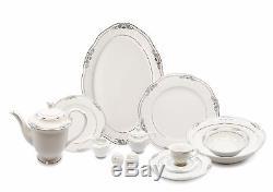 Royalty Porcelain Tamara 57-pc Banquet Dinnerware Set for 8, Bone China