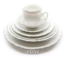 Royalty Porcelain Vintage Antique 28pc Dinnerware Set Bernadotte White Platinum