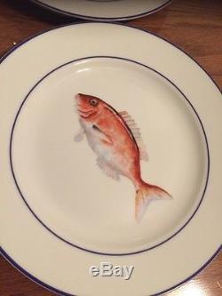 S8 WILLIAMS SONOMA LA MER Marc Lacanze SALAD/DESSERT & DINNER FISH PLATES NIB