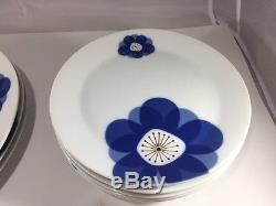 SET OF 10 VINTAGE PLATES 1960's INDIGO MOON CHINA DINNERWARE BLUE STARBURST 3915