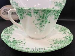 SHELLEY DAINTY GREEN DAISY 053 CUP, SAUCER and 8 PLATE GREEN TRIM