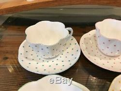 SHELLEY DAINTY Polka Dots Green Yellow Pink Blue or Turquoise Teacup & Saucer
