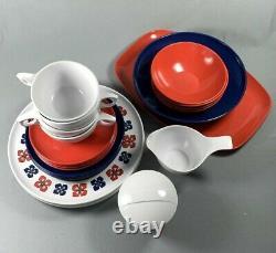 Set 25 Pc Vtg Kenro Melamine Dinnerware Heritage Red White & Blue Mid Century