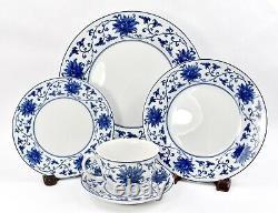 Set 4 20 pc Vista Alegre Lazuli Dinner Place Setting Blue White Porcelain Plates