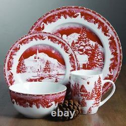 Set Dinnerware 16 Pcs Dishes Dinner Plate Mug Christmas Holiday Winter PR New