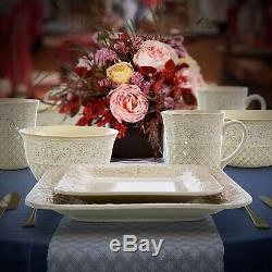 Set Dinnerware 16 Pcs Dishes Plate Mug Classic Vintage Modern Lotus Ivory New