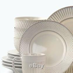 Set Dinnerware 16 Pcs Dishes Plate Mug Vintage Classic Modern Service White New