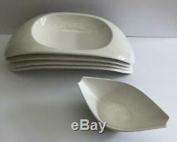 Set Of 4 Villeroy Boch Urban Nature Modern White Bridge Bowl & 1 Dinnerware Flow