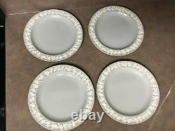 Set Of 4 Wedgwood Queen's Ware Embossed Grey & White Dinner Plates