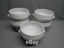 Set of 5 Apilco White French Porcelain Lion Head Soup Bowls