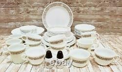 Set of 77 Corelle by Corning Woodland Brown Dinnerware Set Plates, Bowls, Cups
