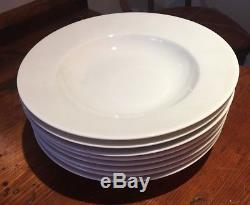 Set of 8 Apilco White Porcelain 9 Rim Soup Bowls, France