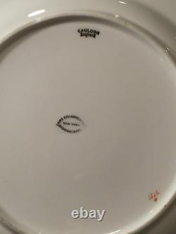 Set of 8 Vintage CAULDON Porcelain 10 Dinner Plates Green Floral/Gold Trim EUC