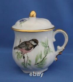 Set of Six Limoges Lidded Pot de Creme Cups Birds and Flowers